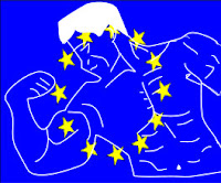 a graphic by Erika Grey of an transparent EU flag of blue and a circle of stars over a line drawing of a strong man flexing his muscle.