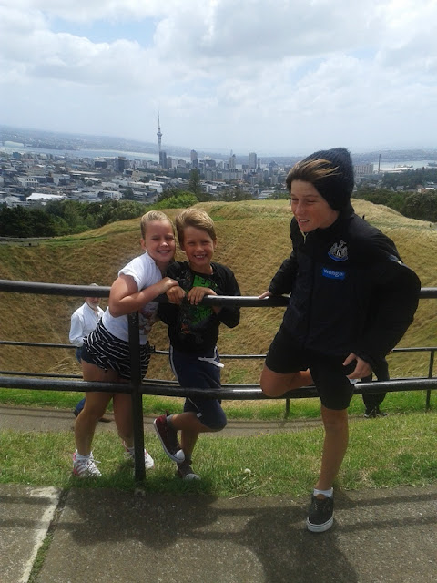 My kids on Mt Eden overlooking Auckland City