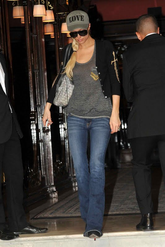 Paris Hilton – Braless See-Through Candids in Paris