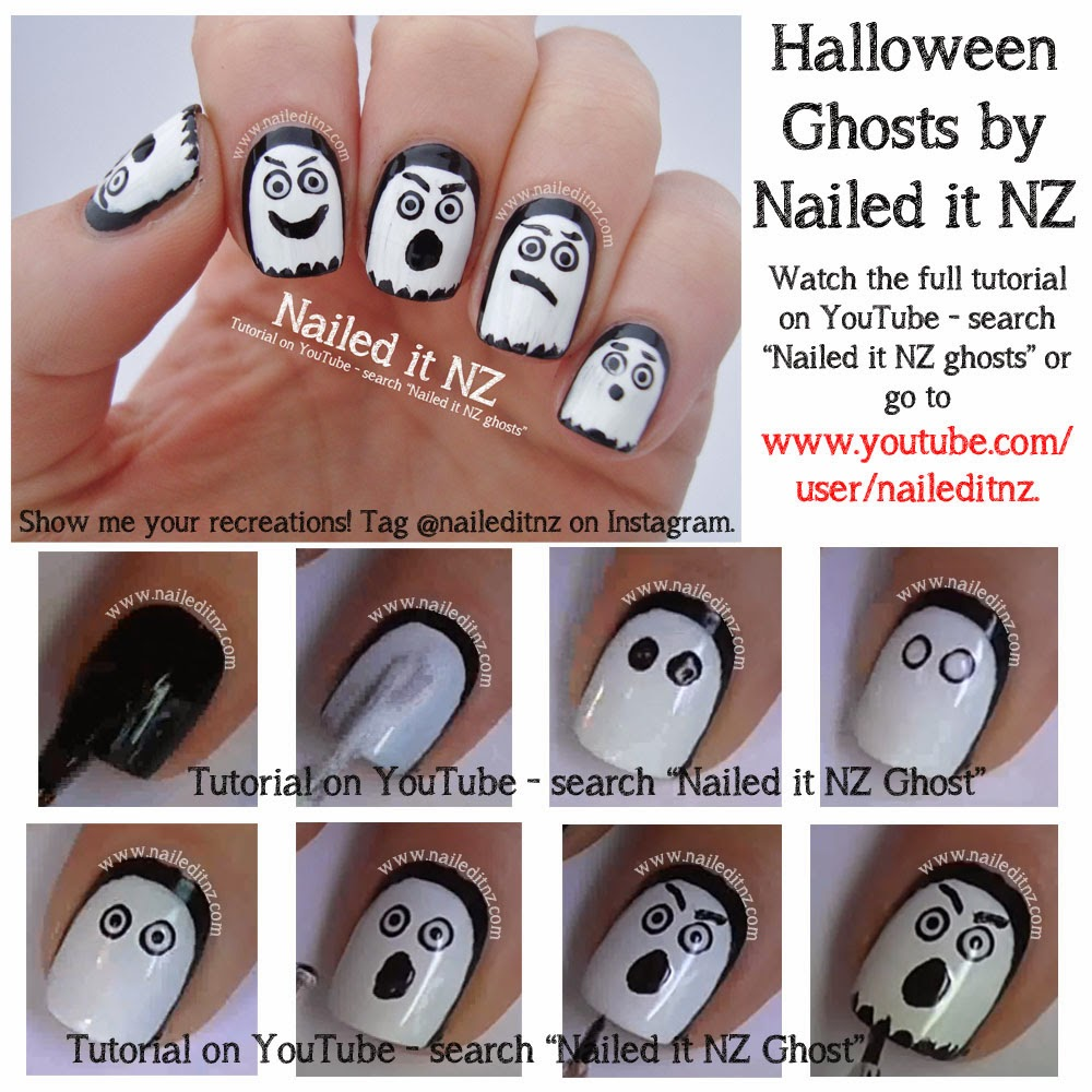 Halloween nail art tutorials ghost jack o lantern skeleton prinsesfo Gallery