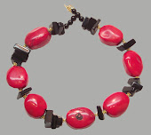 Chunky Red Coral and Black Obsidian Necklace