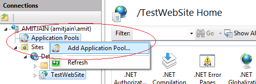 Create Application Pool On IIS