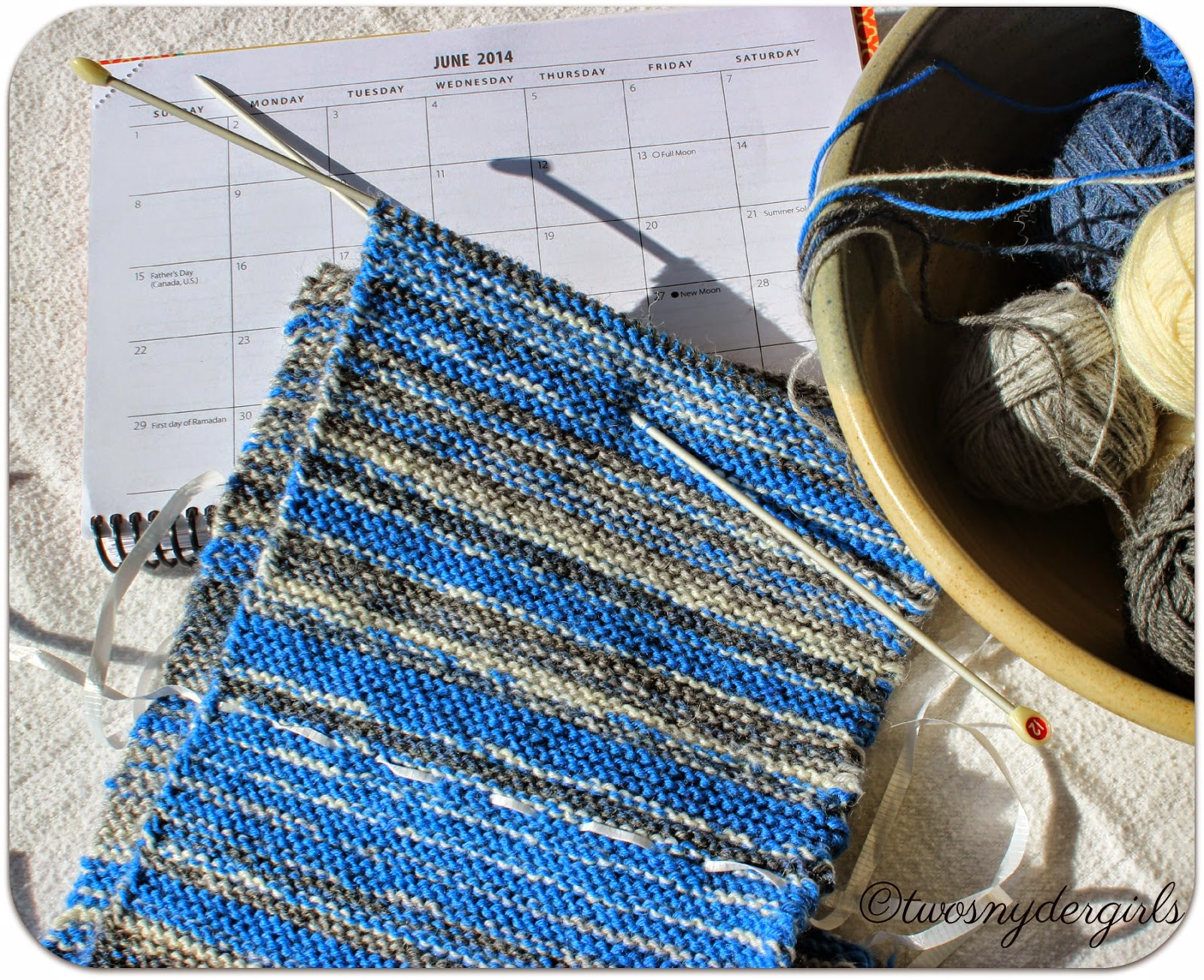 June 2014 a calendar and bowl of yarn
