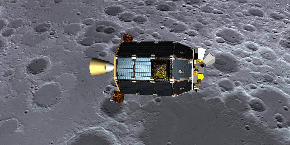 Concept art showing LADEE over the lunar surface. Image Credit: NASA