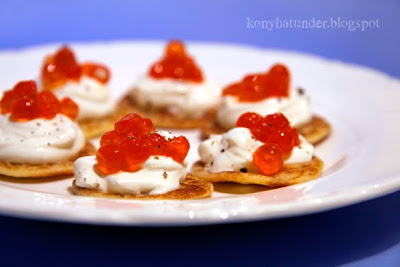 mini blinis with red caviar