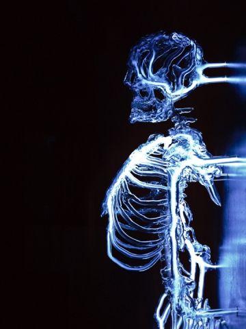 eric franklin escultura esqueleto luz neon caveira