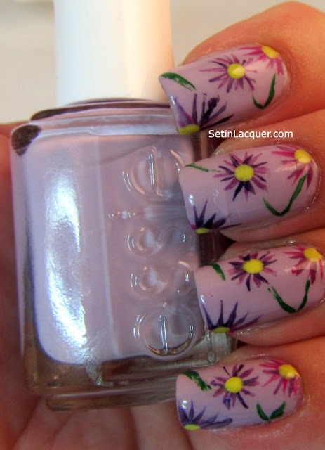 Easy purple flower nail art