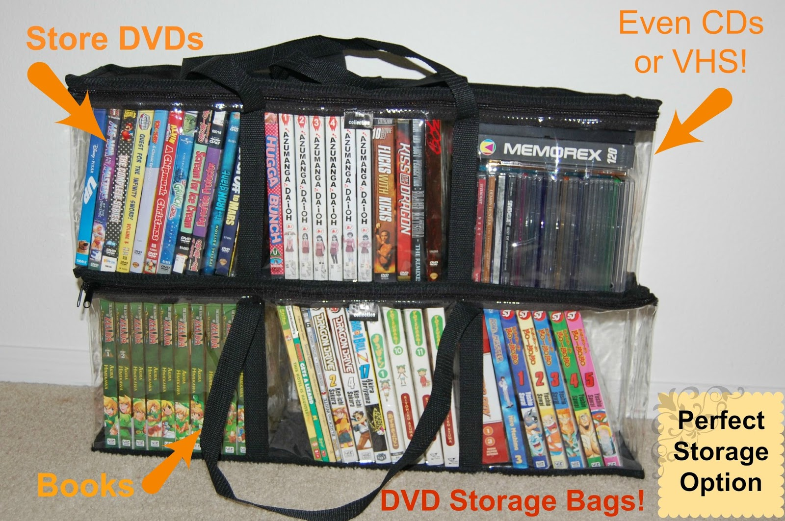 These are a great set of storage bags for all your DVD game or book organizations. You can find them available on Amazon & Temporary Waffle: Set of 2 DVD Storage Bags for DVDs Books And More!