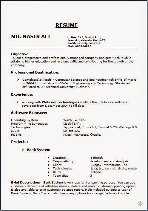 latest resume format sample