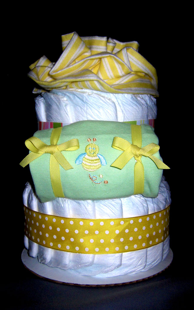 Yellow Bees Small 2 Tier SGD Diaper Cake