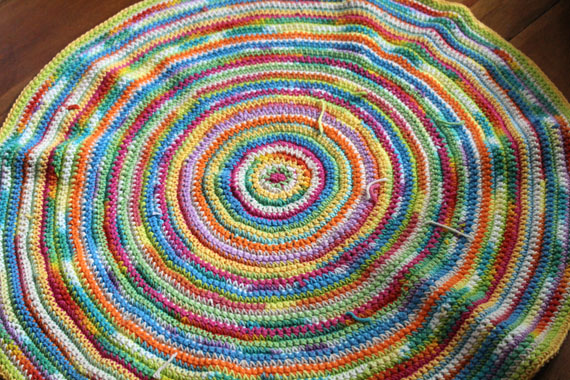 Cotton Yarn Crocheted Round Rug - Arts and Crafts