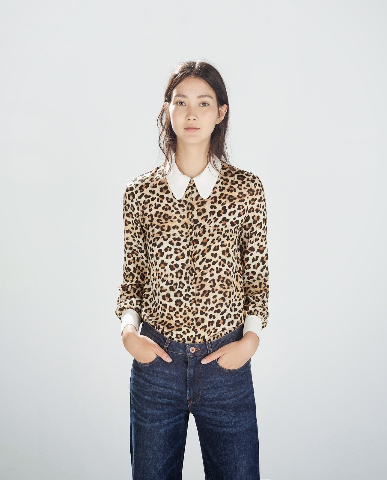leopard shirt white collar