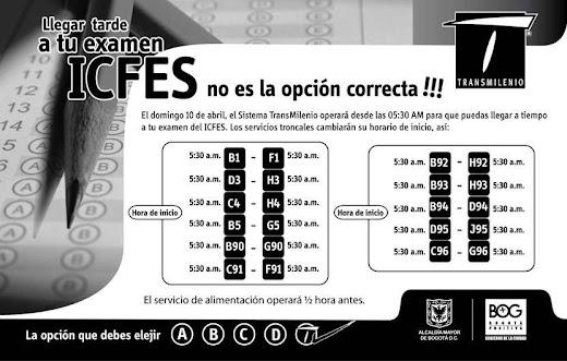Servicios Transmilenio Jornada Exámenes Icfes Saber 2011