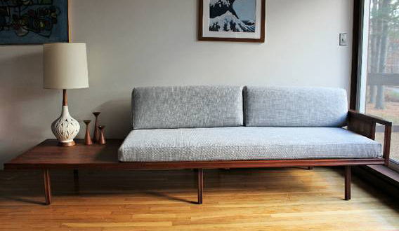 blue lamb furnishings mid century modern daybed sofa sold. Black Bedroom Furniture Sets. Home Design Ideas
