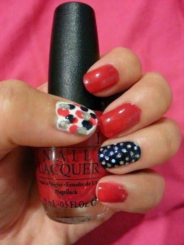 deep fire engine red OPI nail color