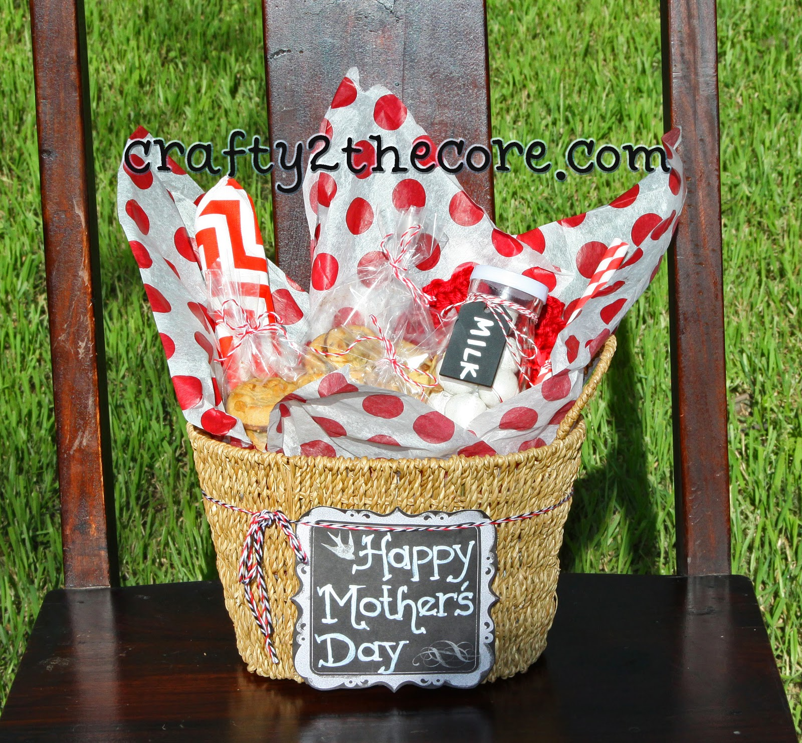 Mother's Day Gift Idea for neighbor, grandma, Mrs. Field's Cookies, milk jar, candy,