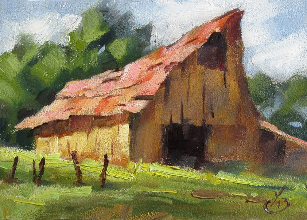 Tom brown fine art barn impressionist rural landscape for Watercolor barn paintings