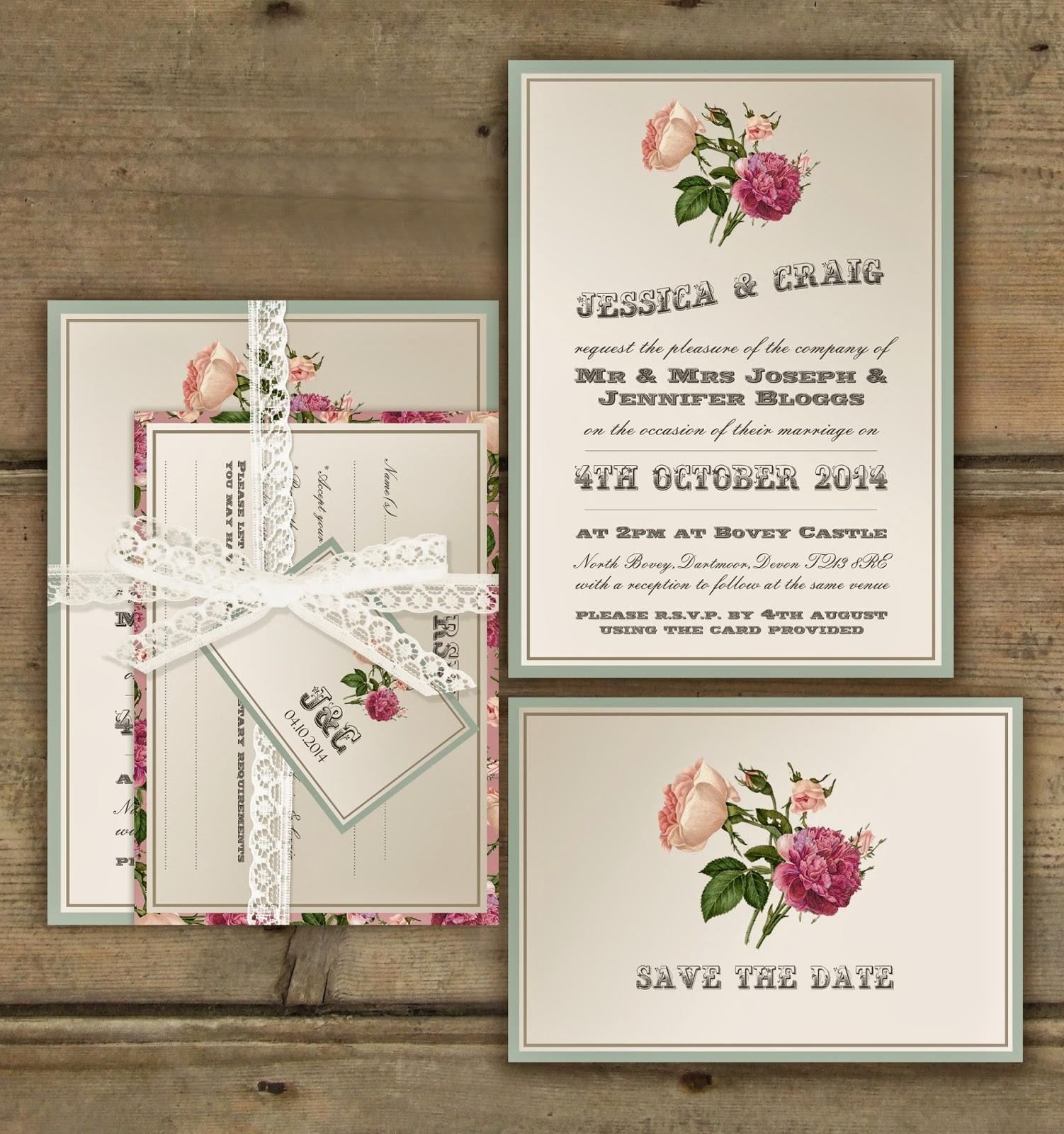 Knots and kisses wedding stationery victorian garden for Garden wedding invitation designs