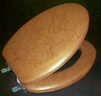 Available in Copper, Silver or Black lightning pattern toilet seat. BathBeautiful.com