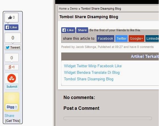 Cara Mudah Memasang Tombol Share Disamping Blog