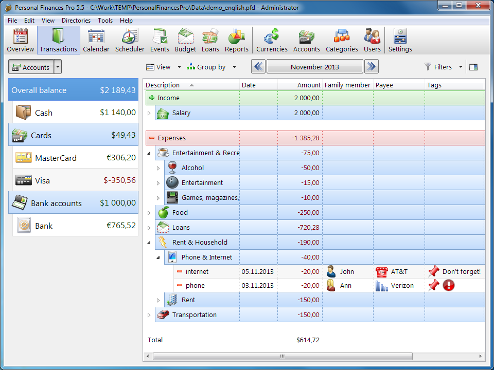 برنامج مجاني لإدارة الشئون المالية الشخصية والإيرادات والنفقات Personal Finances Free