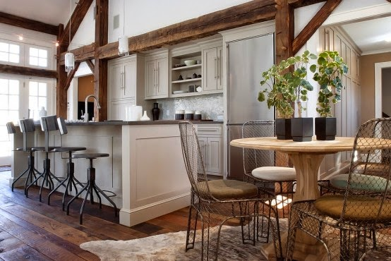 awesome white decoration kitchen with wooden beams exposed and stylish kitchen sets