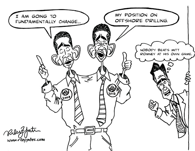 Obama cartoon, Mitt Romney cartoon, flip flop cartoon, Political cartoon, Editorial cartoon