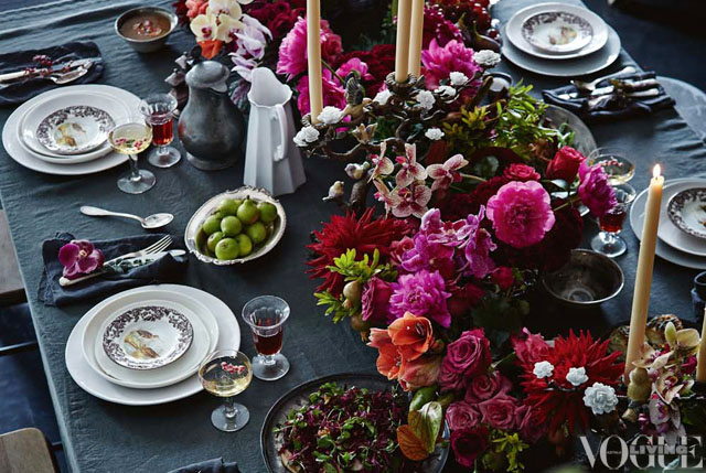 rich table setting, deep hues, flowers