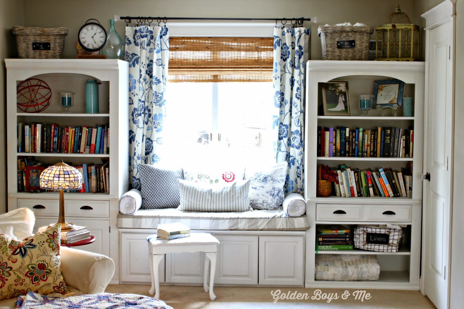 Blue and white floral curtain panels in Master Bedroom - www.goldenboysandme.com