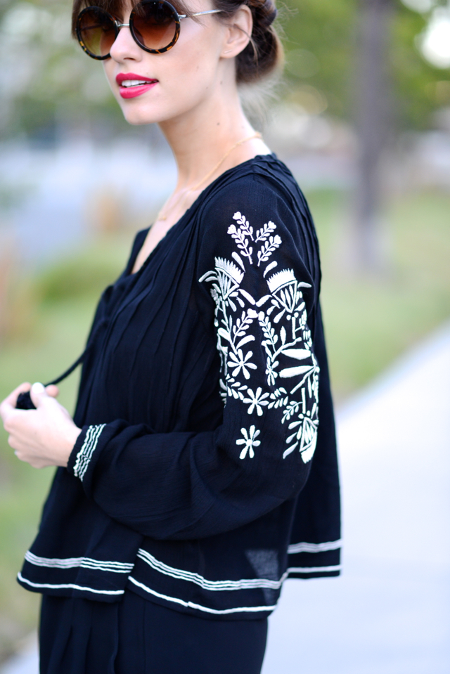 black embroidered blouse from revolve clothing and sole society sunglasses on M Loves M @marmar