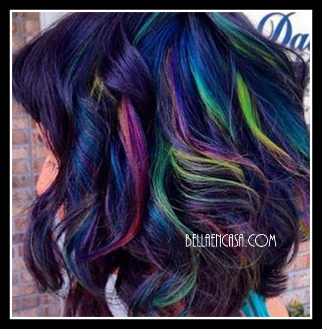 Fotos de técnica de color en el cabello ¨oil slick¨ mancha de aceite.