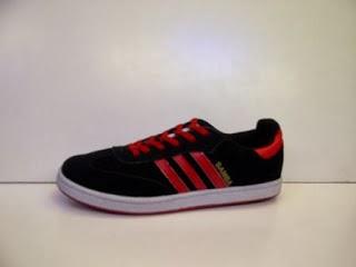 Sepatu Adidas Samba hitam list merah