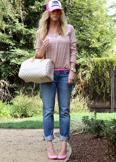 trucker hat style pink heels