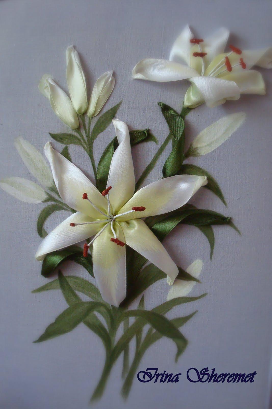 Вышивка лилии лентами