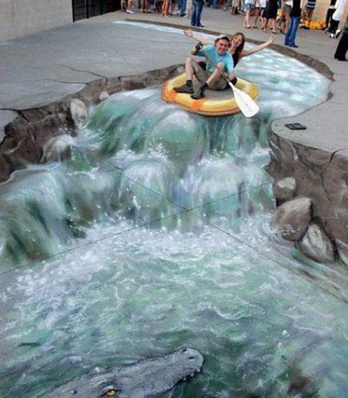 3d optical illusion street