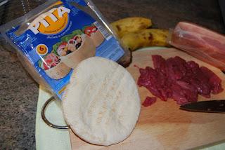 pan pita, potro, bacon, panceta, platano, soja, worcestershire, perrins