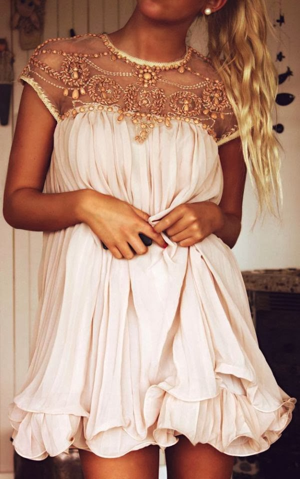 Adorable blush embellished pleated dress fashion