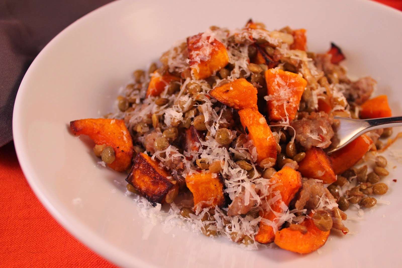 Lentils with sausage and roasted butternut squash