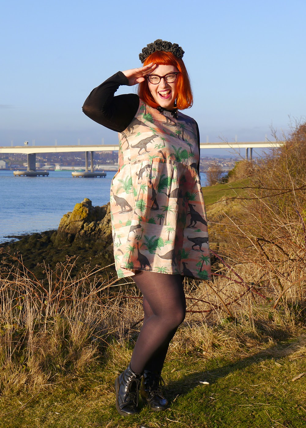 What Helen Wore, Valentine's Day, Adventures, Scottish Blogger, Crown and Glory Black Flower Headband, Bonnie Bling Scottish Sland Necklace, Vintage Style Me Dinosaur Dress, H & M Shirt