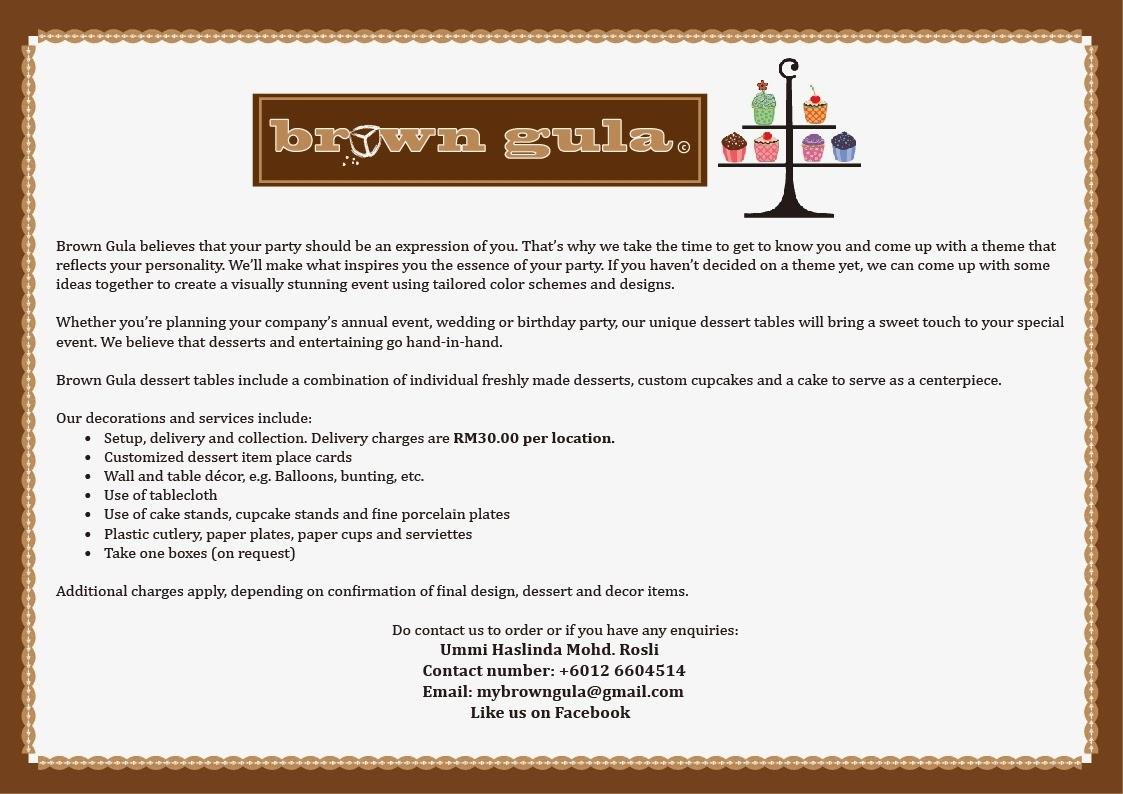 Brown gula sweetdessert table price list sweetdessert table price list junglespirit Choice Image