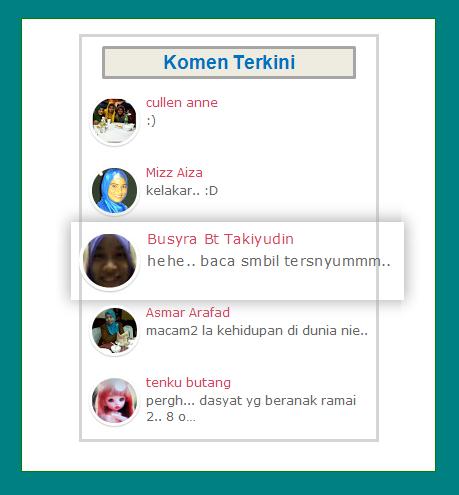 Widget Komen Terkini Dengan Zoom-in Avatar Bulat