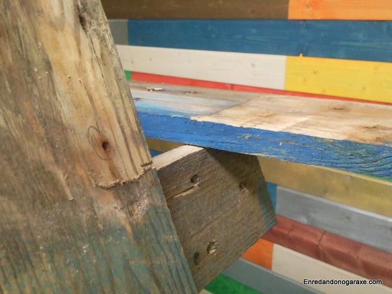 Soporte limado para reposabrazos ancho típico de silla Adirondack. Enredandonogaraxe.com