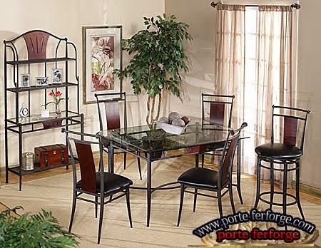 de chaises et de tables ، fer forgé
