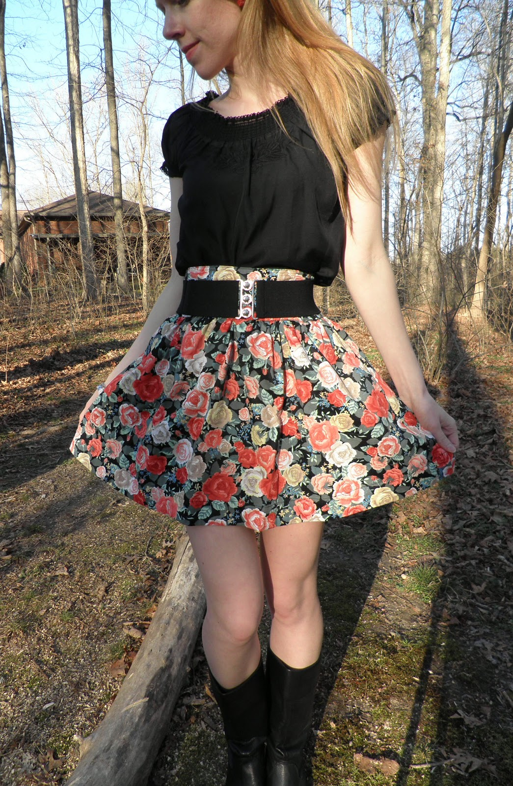 Buy Floral black skirt tumblr photo picture trends