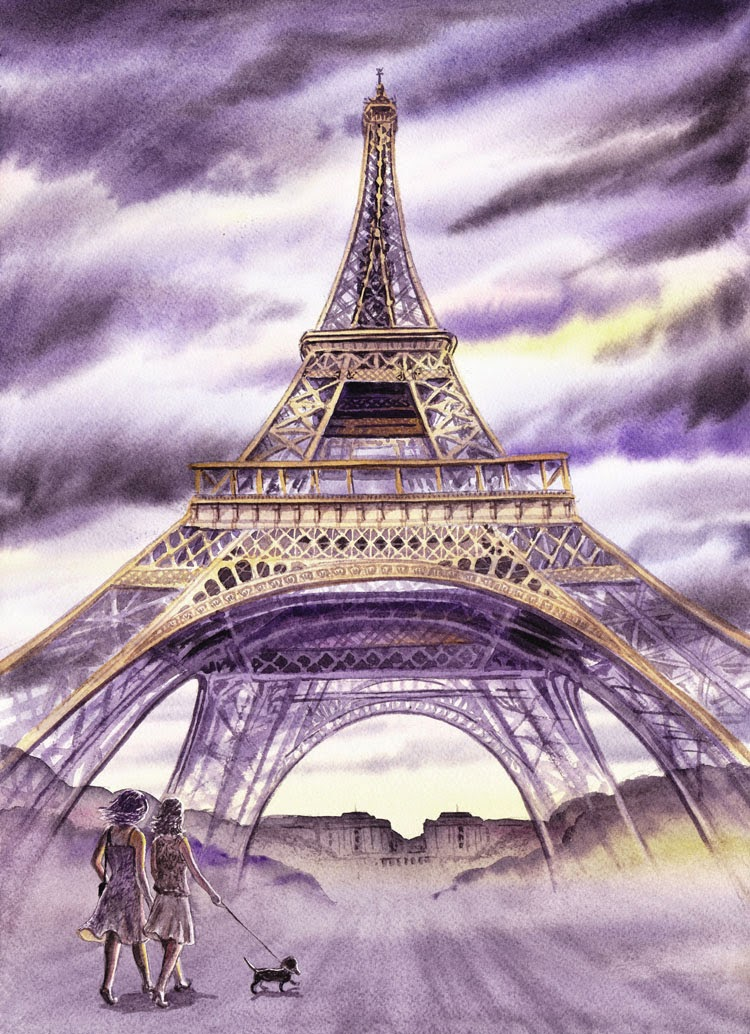 Two Girls Walking Dog in Paris watercolor