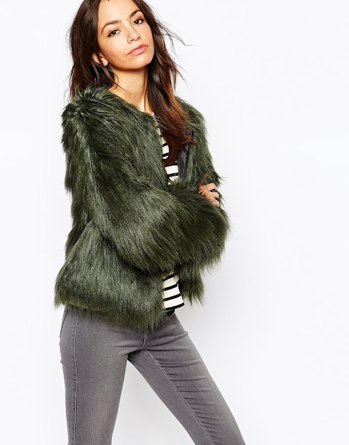green faux fur jacket, only fur coat,