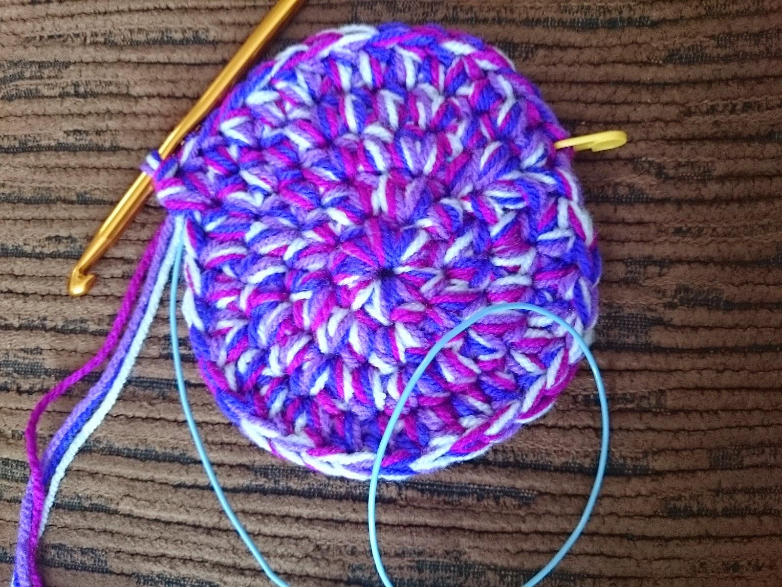 crochet basket with handles purple four strands yarn 8mm hook stitch marker