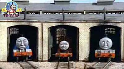 The story of Thomas the tank engine Percy the train runs away down the track Henry James and Gordon