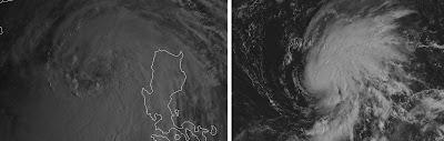 Ein Blick auf NESAT und NALGAE, Satellitenbild Satellitenbilder, Nesat, Nalgae, Pazifik, Taifun Typhoon, Taifunsaison, Hurrikansaison 2011,