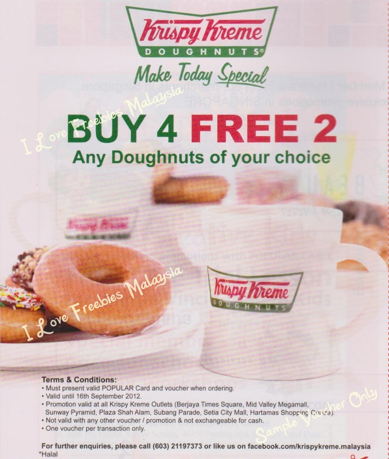 Free Birthday Krispy Kreme ~ I love freebies malaysia promotions gt krispy kreme doughnuts buy free